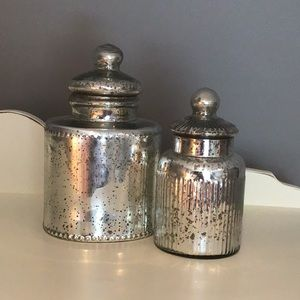 Set of Mercury Glass canisters
